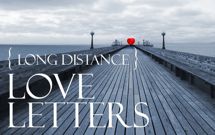 A pier with a heart at the end and the words long distance love letters written on top