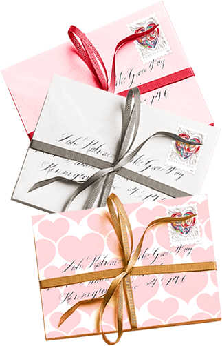 Love letters wrapped in ribbons, addressed and stamped